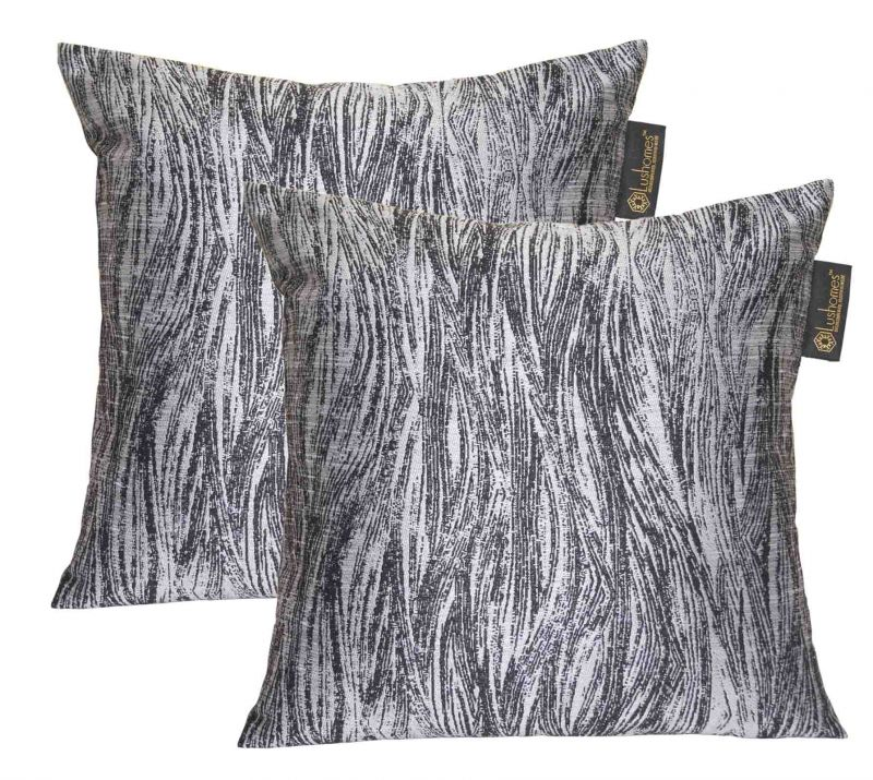 Buy Lushomes Black & Silver Polyester Jacquard Cushion Covers Pack Of 2 online