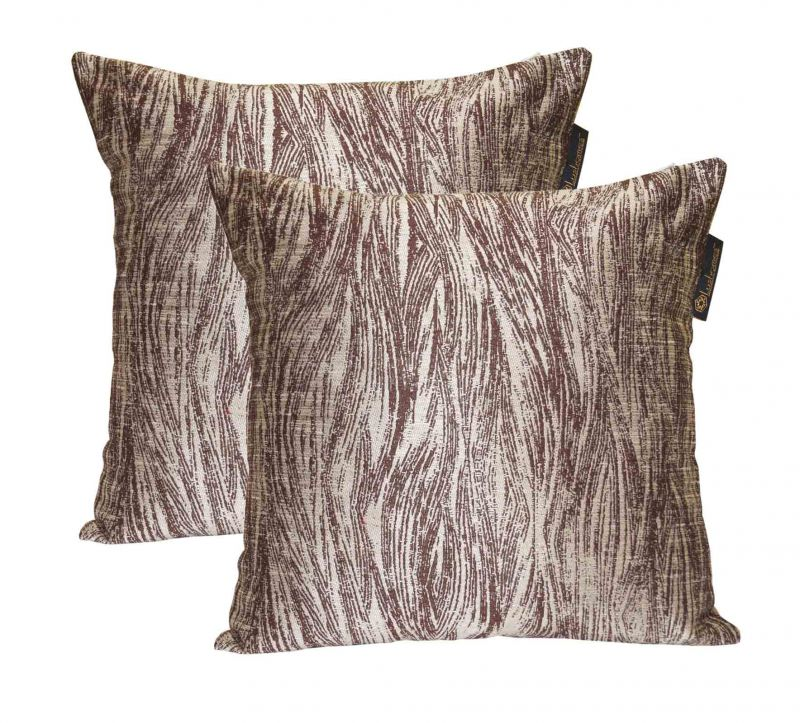 Buy Lushomes Brown Polyester Jacquard Cushion Covers Pack Of 2 online
