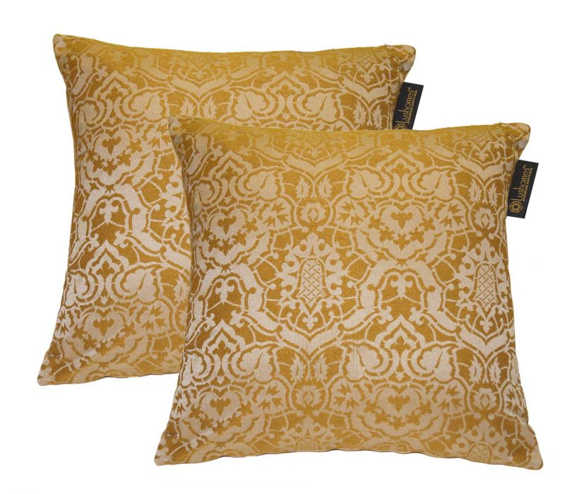 Buy Lushomes Gold Polyester Jacquard Cushion Covers Pack Of 2 online