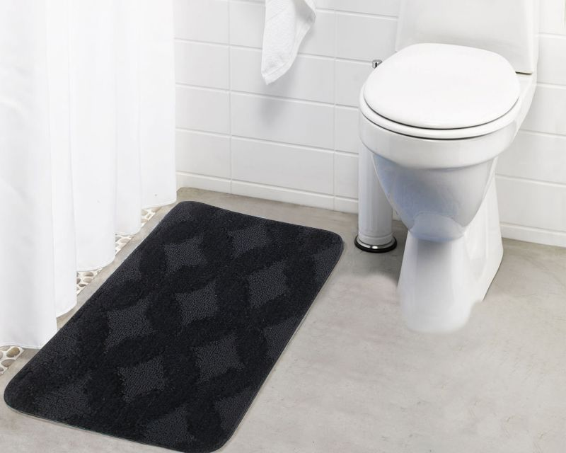 Buy Lushomes Ultra Soft Microfiber Polyester Dark Grey Regular Bath Mat online