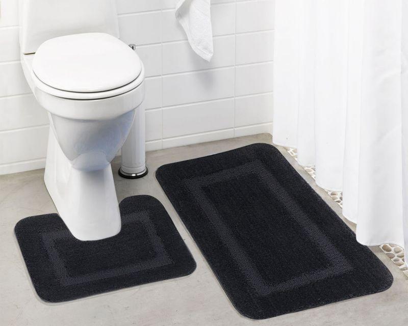 Buy Lushomes Ultra Soft Microfiber Polyester Dark Grey Regular Bath Mat Set online