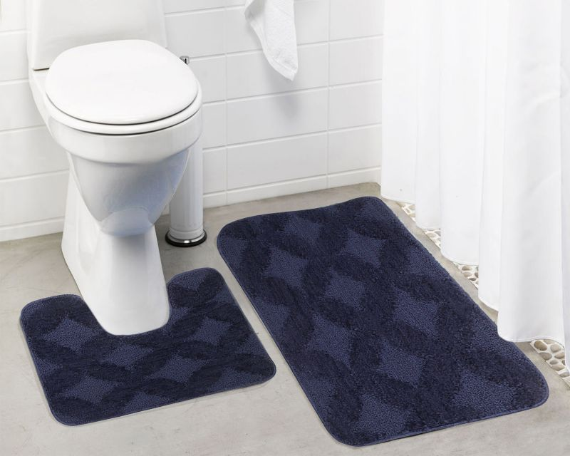 Buy Lushomes Ultra Soft Microfiber Polyester Navy Blue Regular Bath Mat Set online
