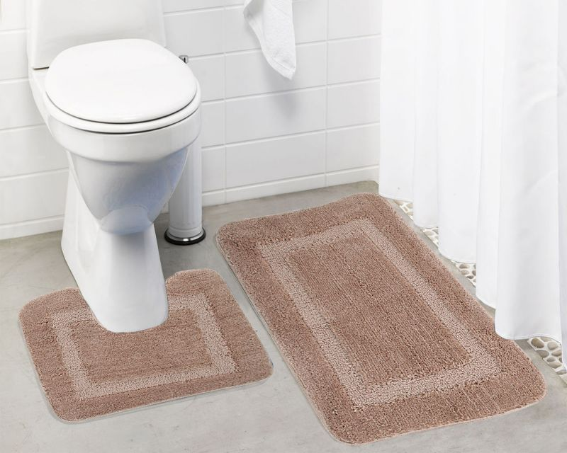 Buy Lushomes Ultra Soft Microfiber Polyester Beige Regular Bath Mat Set online