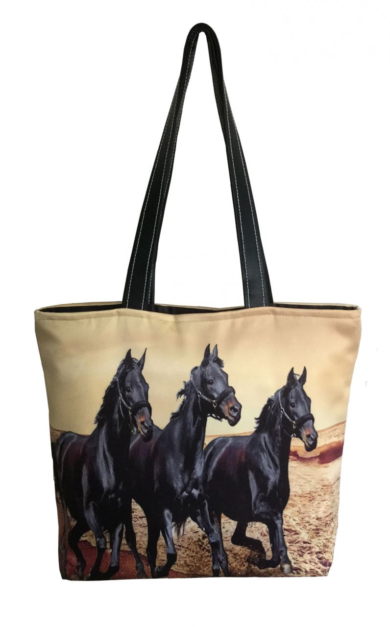 Buy Lushomes Black Horse Digital Printed Polyester Tote online