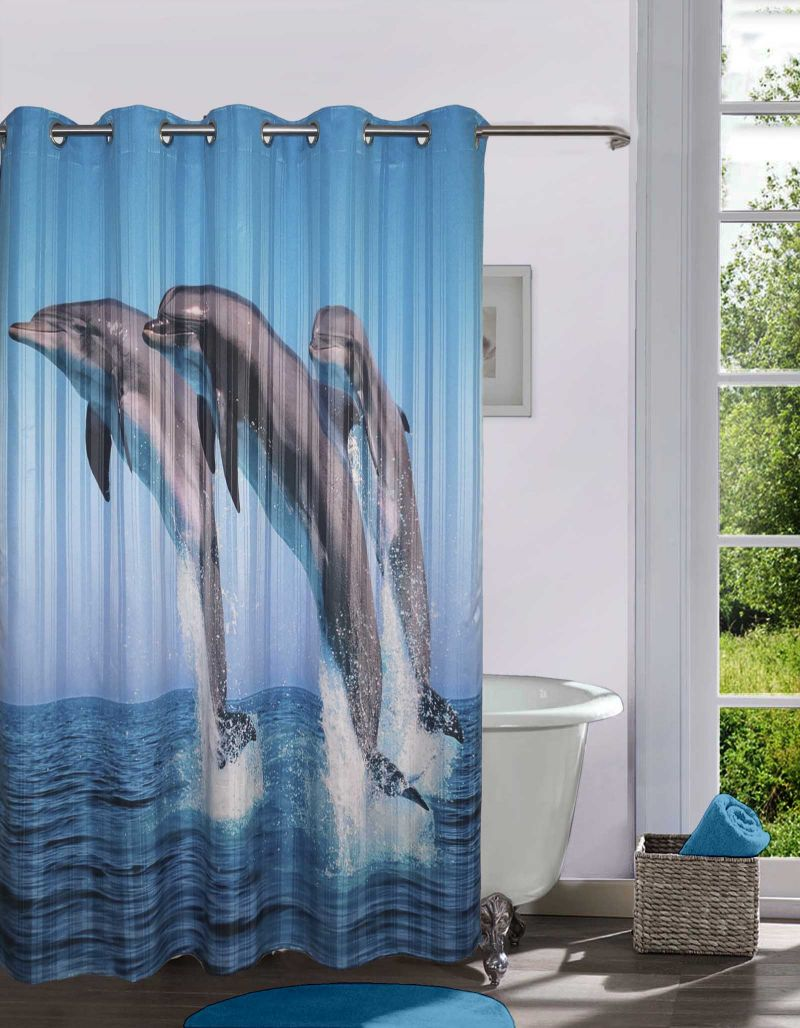 Lushomes Digitally Printed Dolphins Shower Curtain With 10 Eyelets