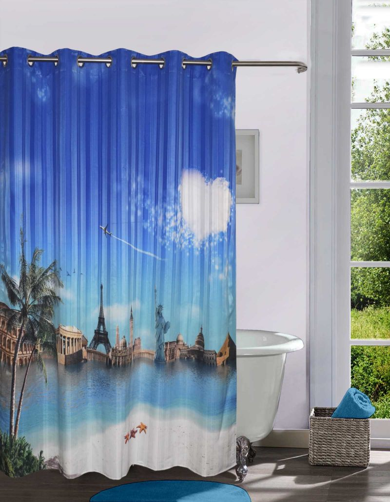 Buy Lushomes Printed Wonders Of The World Shower Curtain With 10 Eyelets online
