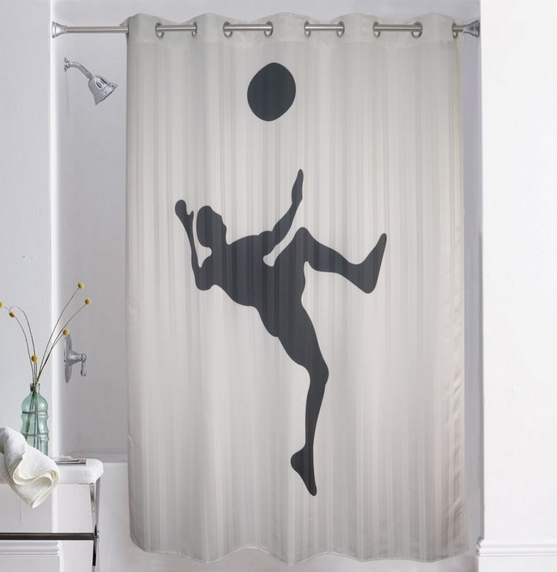 Buy Lushomes Digitally Printed Football Shower Curtain With 10 ...