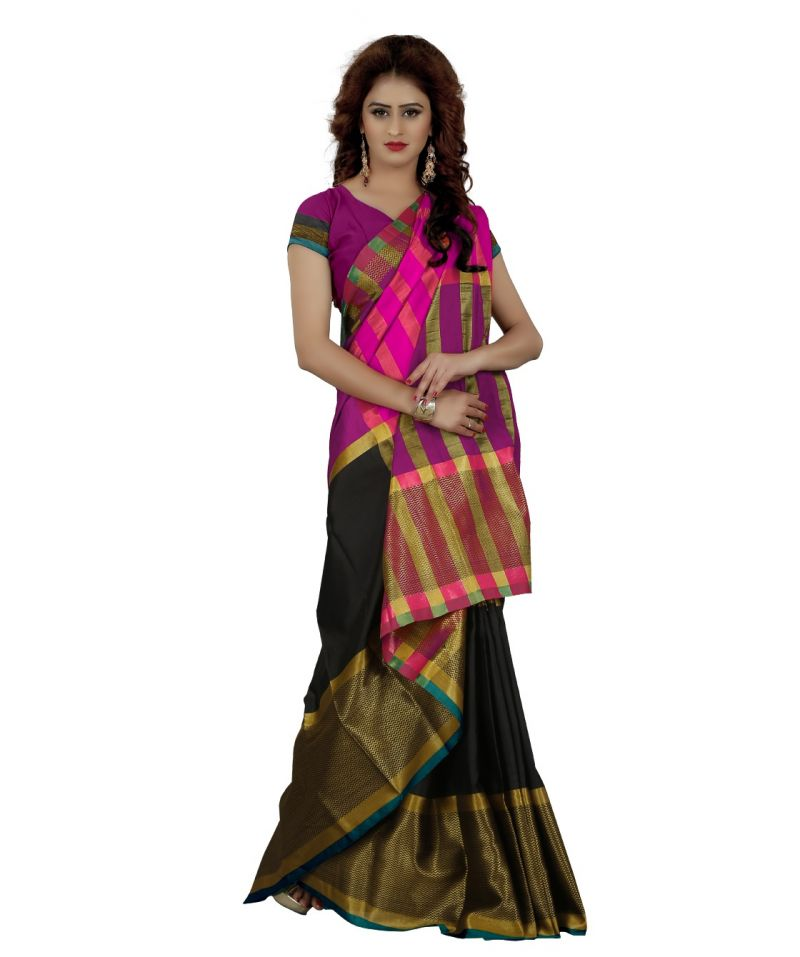 0a6b36d14 Buy Wama Fashion Women s Orange Striped Printed Mysore Silk Saree With  Blouse (code - Tz 1221 f) Online