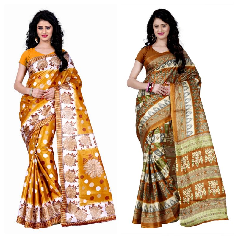 Buy Wama Fashion Set Of 2 Printed Multicolour Raw Silk Sarees (code - Combo-1003-c_1008-a) online