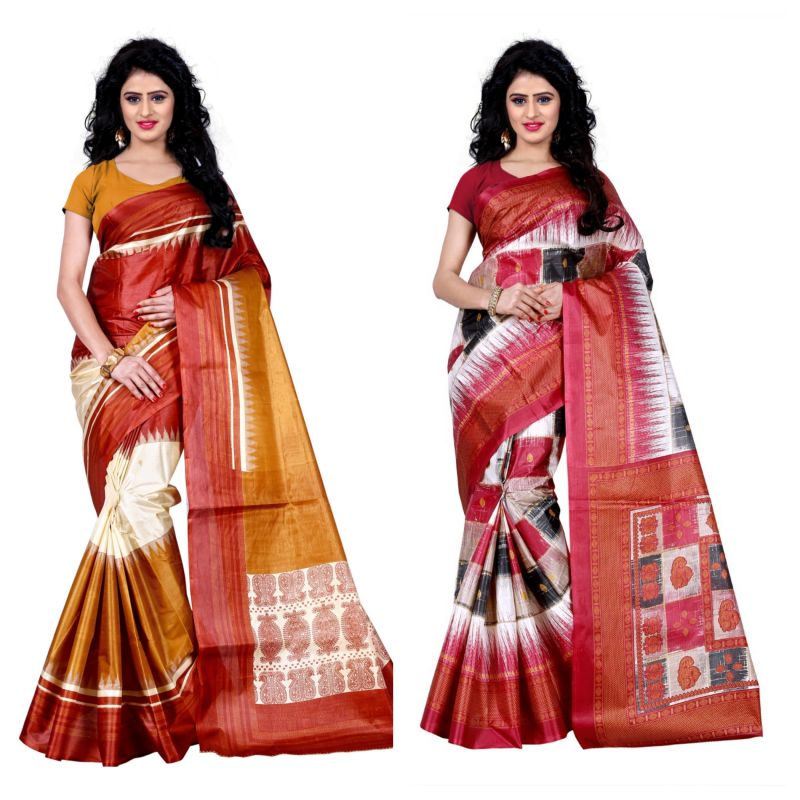 Buy Wama Fashion Set Of 2 Printed Multicolour Raw Silk Sarees (code - Combo-1003-d_1012-c) online