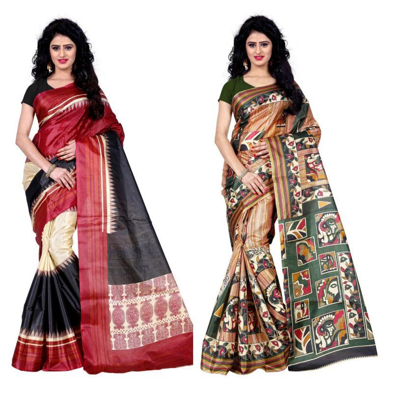 Buy Wama Fashion Set Of 2 Printed Multicolour Raw Silk Sarees (code - Combo-1004-b_1008-c) online