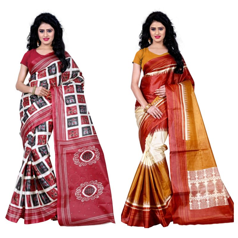 Buy Wama Fashion Set Of 2 Printed Multicolour Raw Silk Sarees (code - Combo-1008-a_1013-c) online