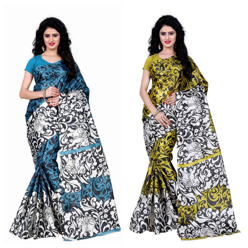 Buy Wama Fashion Set Of 2 Printed Multicolour Raw Silk Sarees (code - Combo-1009-a_1009-d) online
