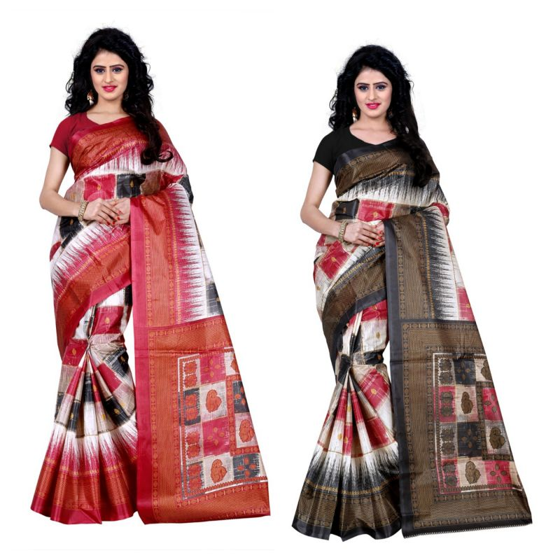 Buy Wama Fashion Set Of 2 Printed Multicolour Raw Silk Sarees (code - Combo-1010-a_1010-d) online
