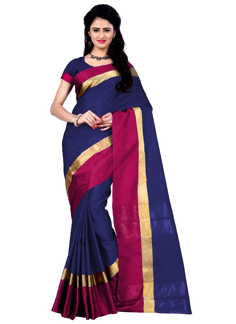 Buy Wama Blue Cotton Silk Saree With Blouse(tz_himanishi_ Blue) online