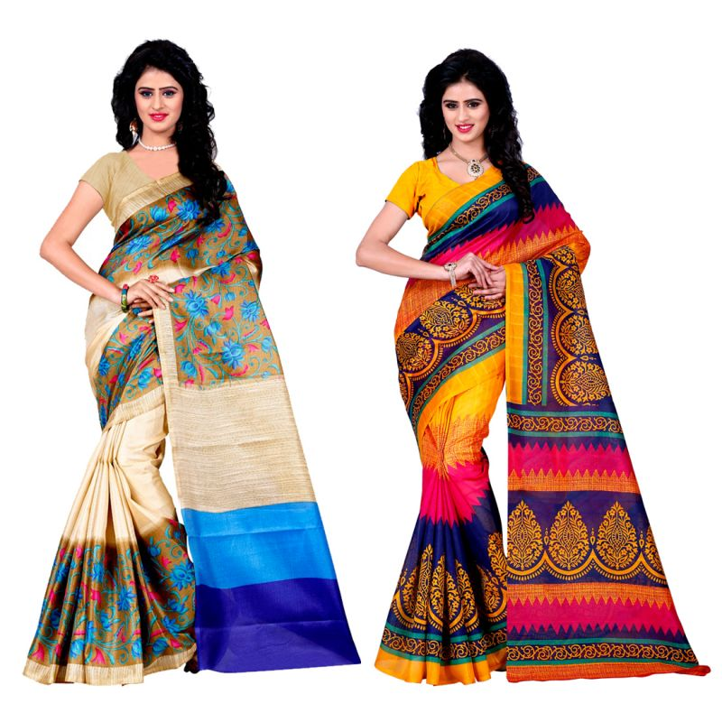 Buy Wama Fashion Set Of 2 Multicolour Bhagalpuri Silk Sarees (code - Combo_tz_mayur Punkh And Tz_cocktail) online