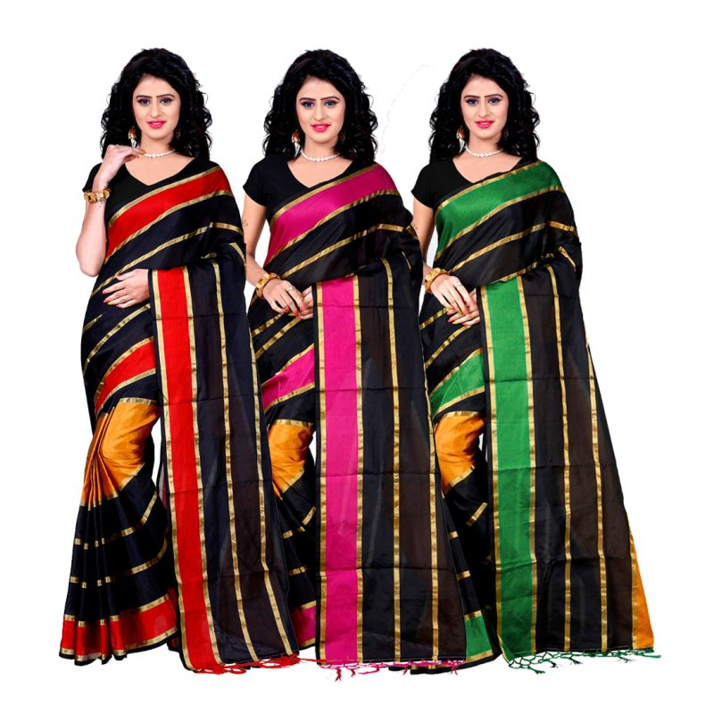 Buy Wama Fashion Set Of 3 Silk Sarees (code - Combo_patta_red_pink_green(pack Of 3) online