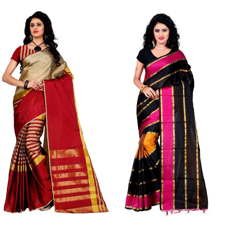 Buy Wama Fashion Set Of 2 Silk Sarees (code - Combo_tz_arun_red And Tz_patta_pink) online