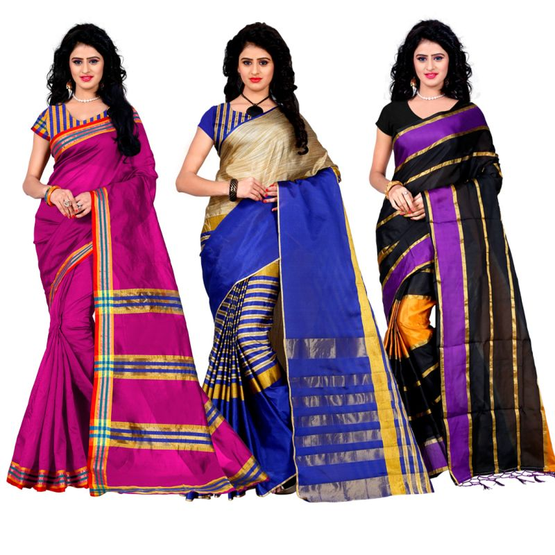 Buy Wama Fashion Set Of 3 Silk Sarees (code - Combo_tz_maliya_rani _ Tz_arun_blue _tz_patta_purpal(pack 3) online