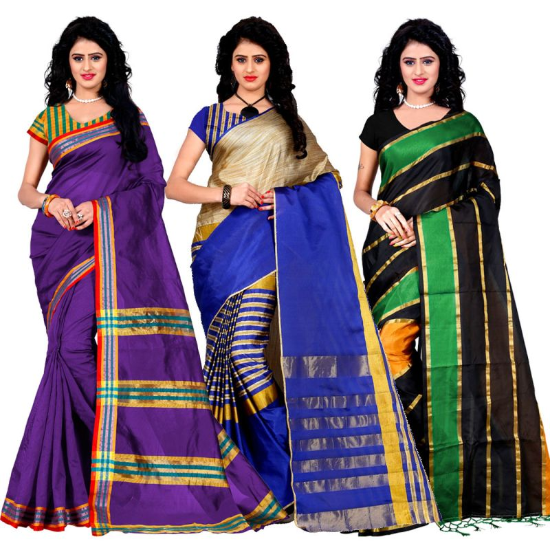 Buy Wama Fashion Set Of 3 Silk Sarees (code - Combo_maliya_purple_arun_blue_patta_pink) online