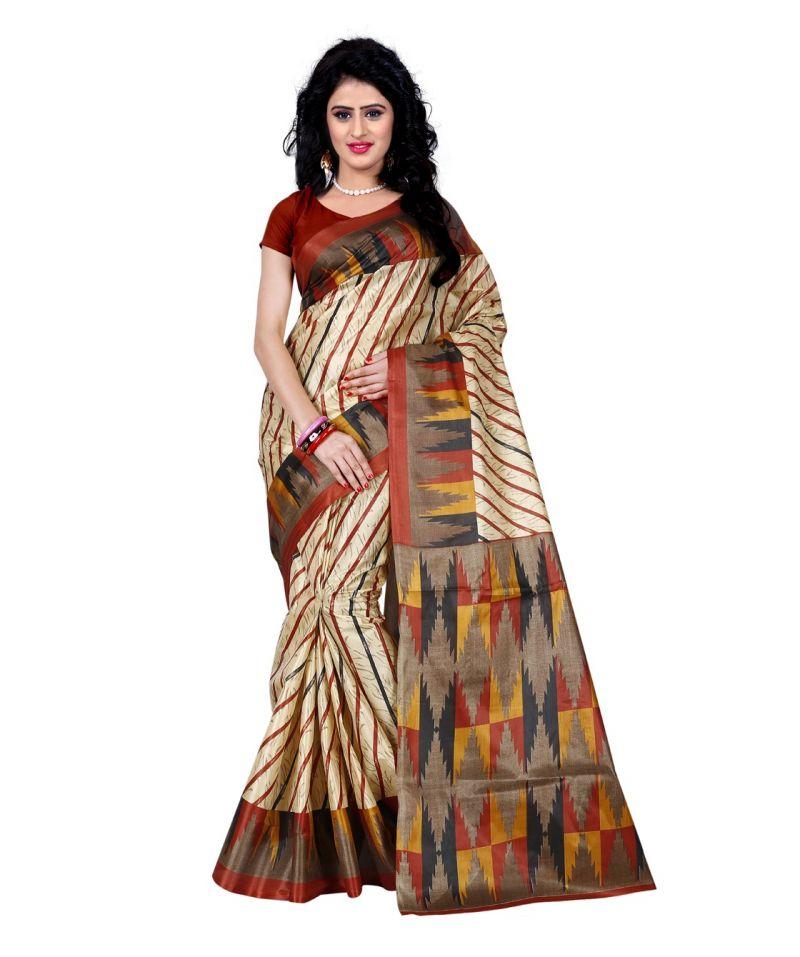 Buy Wama Fashion Printed Multicolour Raw Silk Sarees (code - Tz_1013_a) online