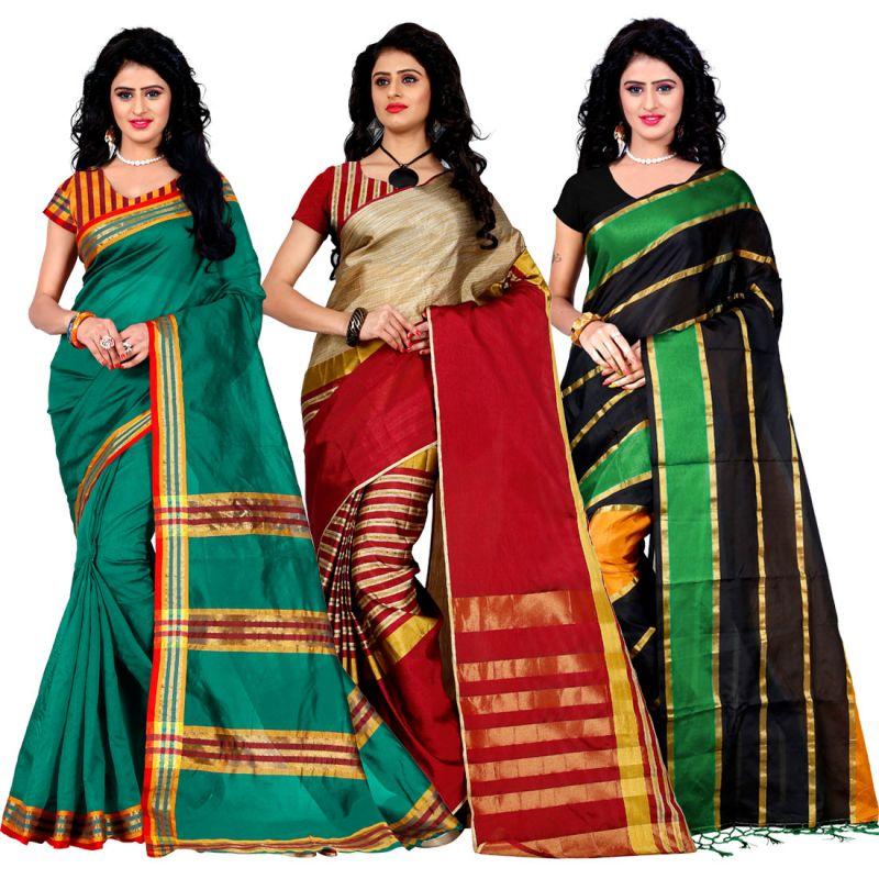 Buy Wama Fashion Set Of 3 Silk Sarees (code - Combo_maliya_rama_arun_red_patta_green) online