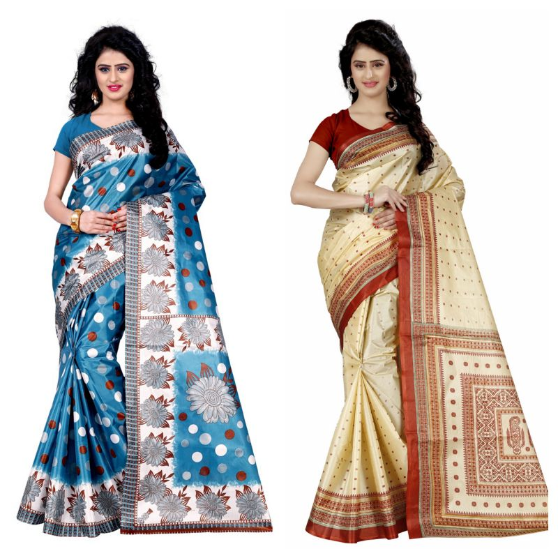 Buy Wama Fashion Set Of 2 Printed Multicolour Raw Silk Sarees (code - Combo-1003_b-1037_a) online
