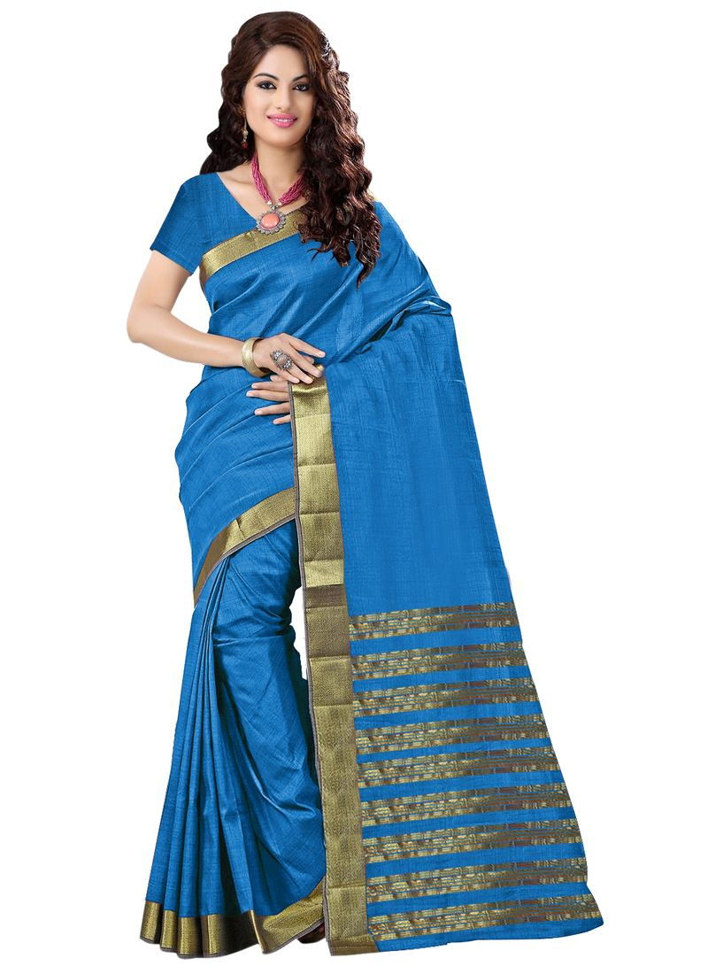 Buy Wama Fashion Cotton Silk Sari(tz_priya_sky) online