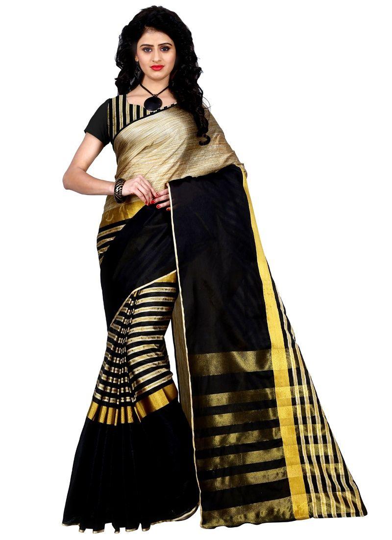 Buy New Arrival Festival Special Designer With Golden Jacquard Work Cotton Saris(tz_arun_black) online