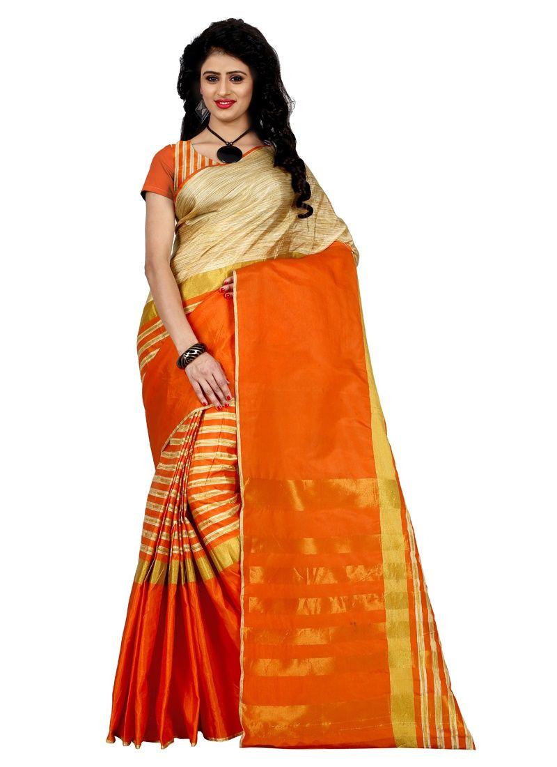 Buy Wama Fashion Bhagalpuri Cotton Sari With Blouse (tz_arun_orange) online