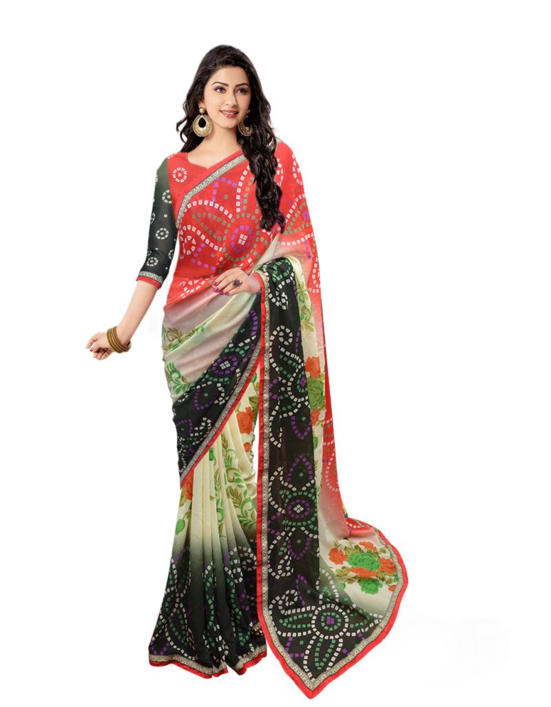 Buy Wama Fashion Georgette Red And Cream Designer Saree(tz_bandhani) online