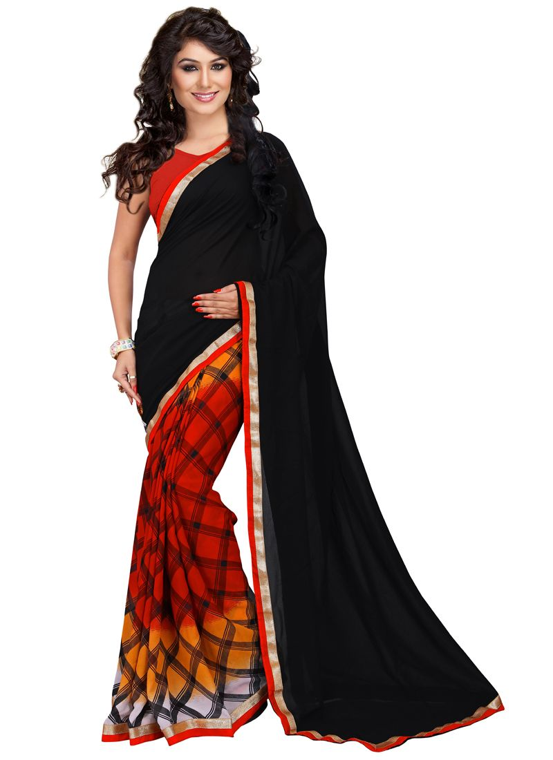 Buy Wama Fashion Black Color Cotton Silk Saree With Blouse(tz_chess_half) online