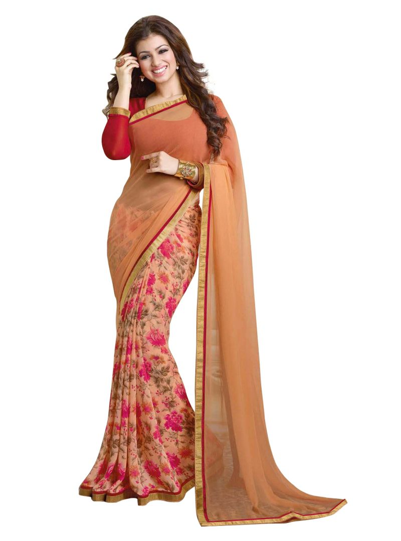 Buy Wama Fashion Georgette Chikoo And Red Flower Design Printed Designer Saree online