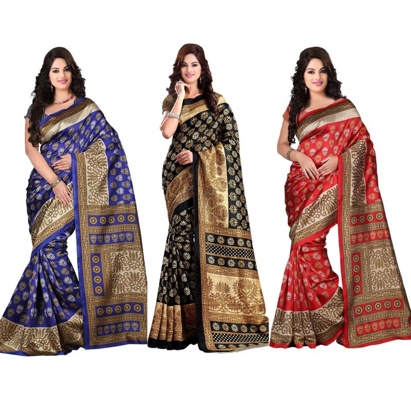 Buy Wama Fashion Bhagalpuri Cotton Sari With Blouse (tz_combo_kasturi) online