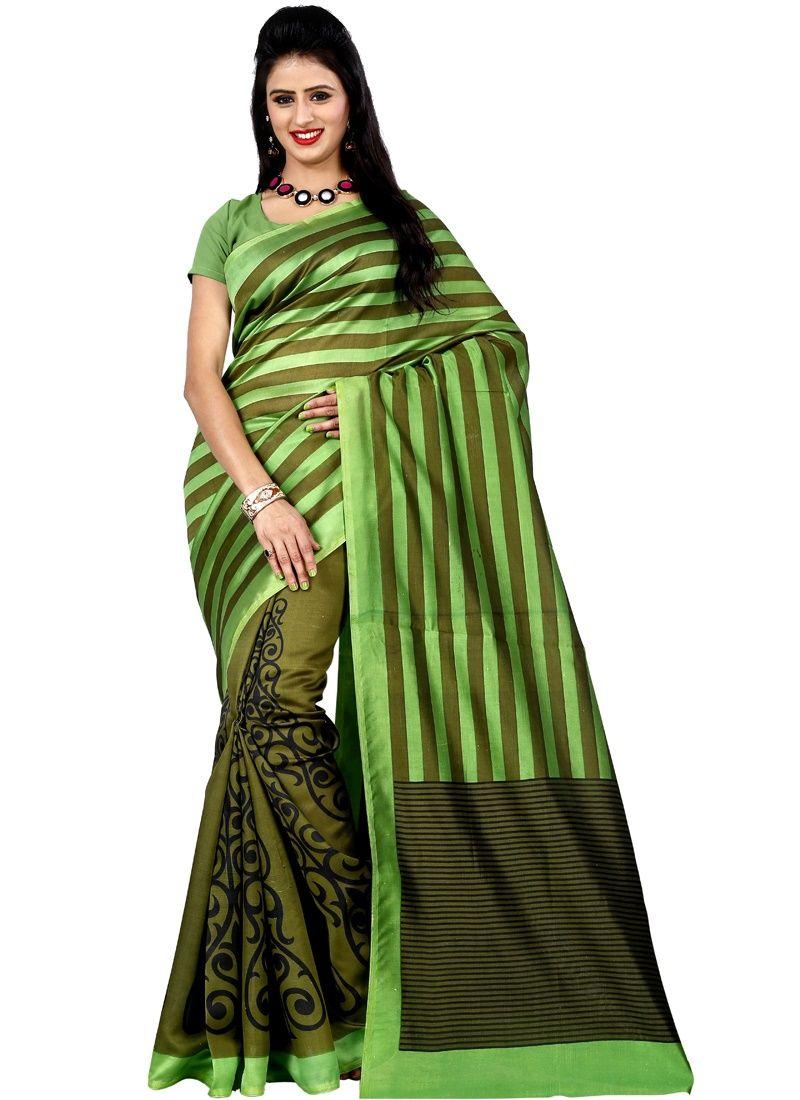 Buy Wama Fashion Green Art Silk Printed Designer Saree(tz_koyal) online
