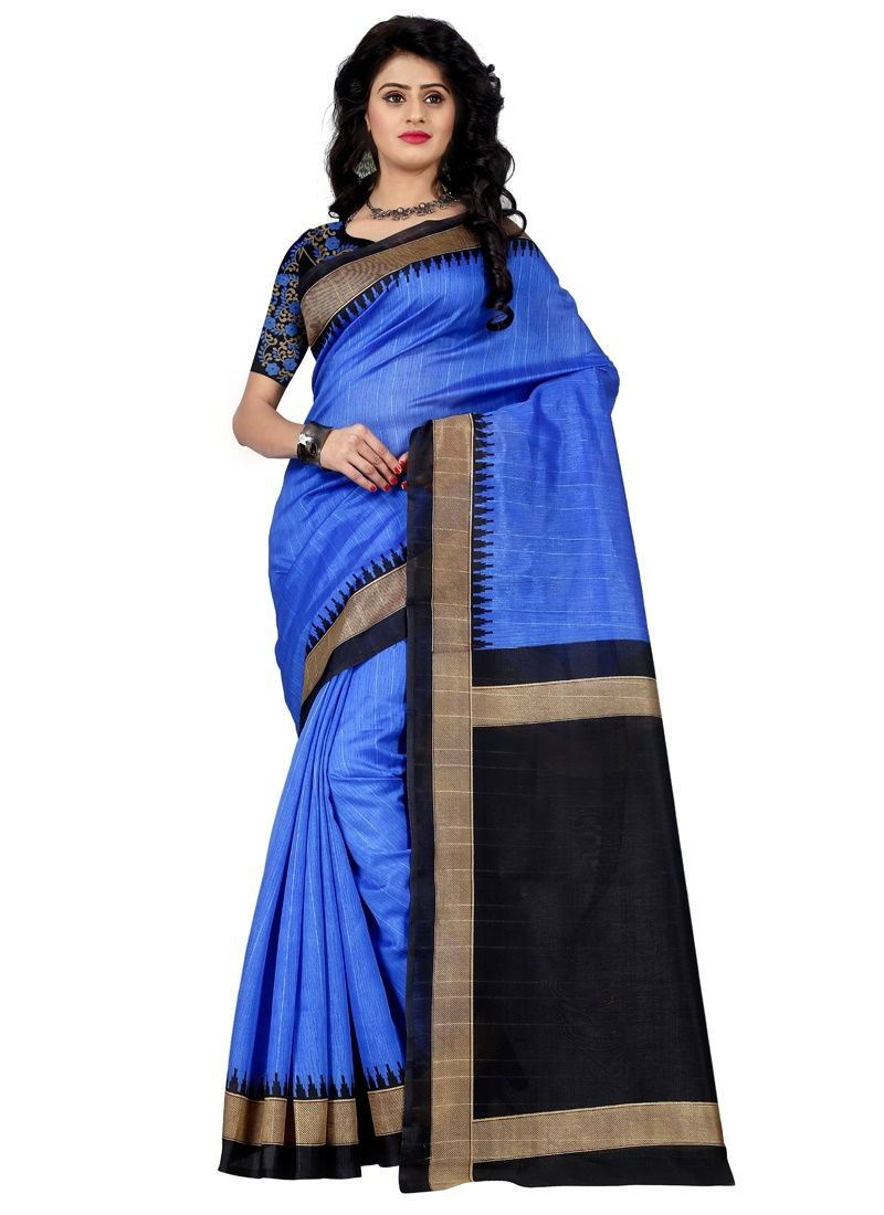 Buy Wama Fashion Bhagalpuri Cotton Sari With Blouse(tz_ Mayuri Blue) online