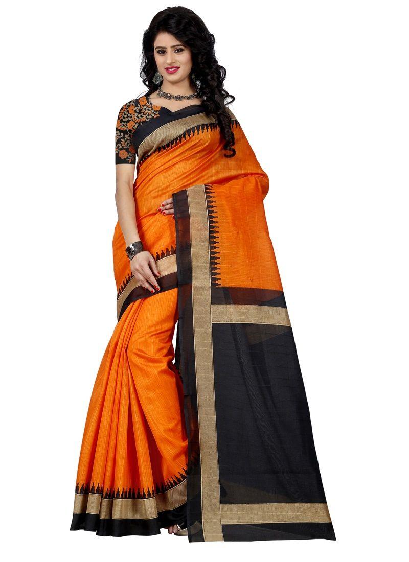 Buy Wama Fashion Bhagalpuri Cotton Sari With Blouse(tz_ Mayuri Orange) online