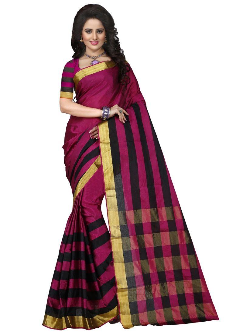 Buy Wama Tussar Silk Pink Saree With Blouse(tz_pari_pink) online