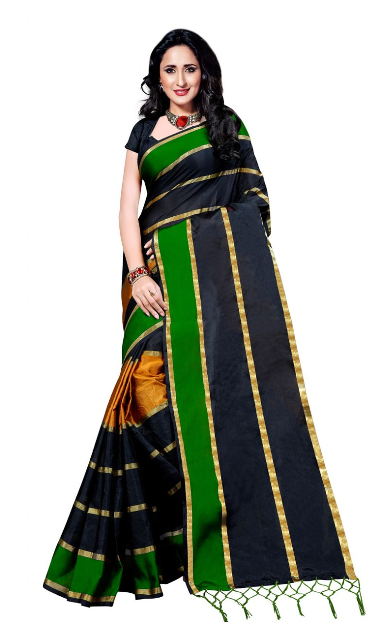 Buy Wama Fashion Cotton Silk Sari(tz_patta_green)) online