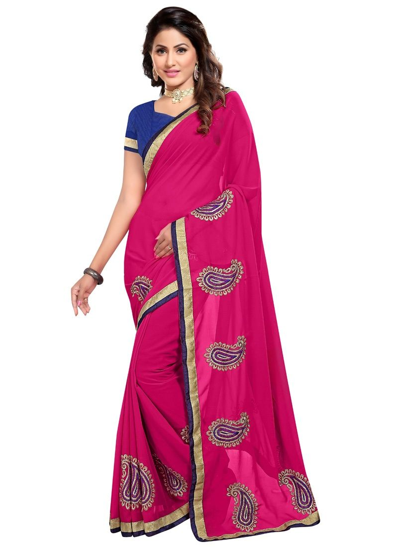 Buy Wama Fashion Pink Color Georgette Sari(tz_tafree) online