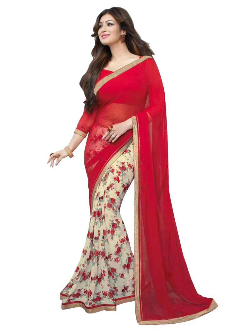 Buy Wama Fashion Georgette Red Color Flower Design Printed Designer Saree online