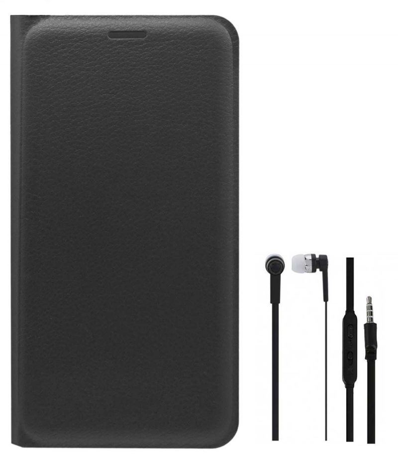 new products f6eab e2170 Tbz Pu Leather Flip Cover Case For Gionee A1 With Earphone - Black
