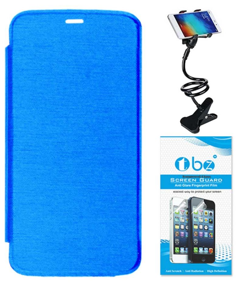 Buy Tbz Flip Cover Case For Micromax Canvas A1 With Flexible Lazy Stand And Tempered Screen Guard - Blue online