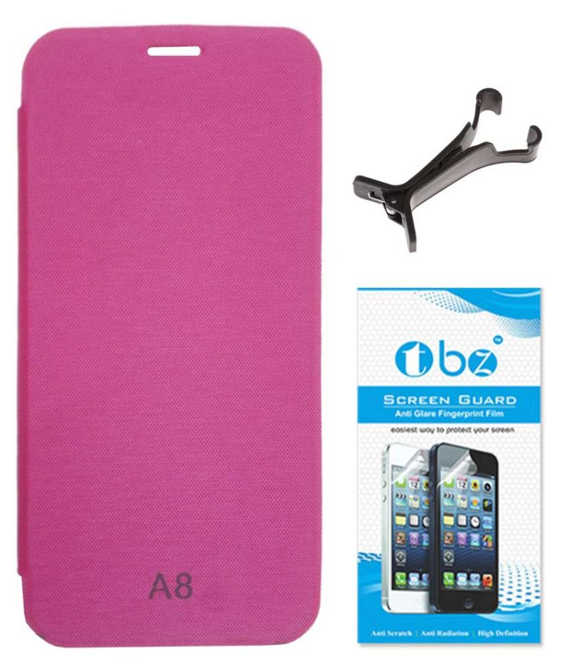 Buy Tbz Flip Cover Case For Samsung Galaxy A8 With Multi Stand Tablet/phone Holder And Screen Guard - Pink online