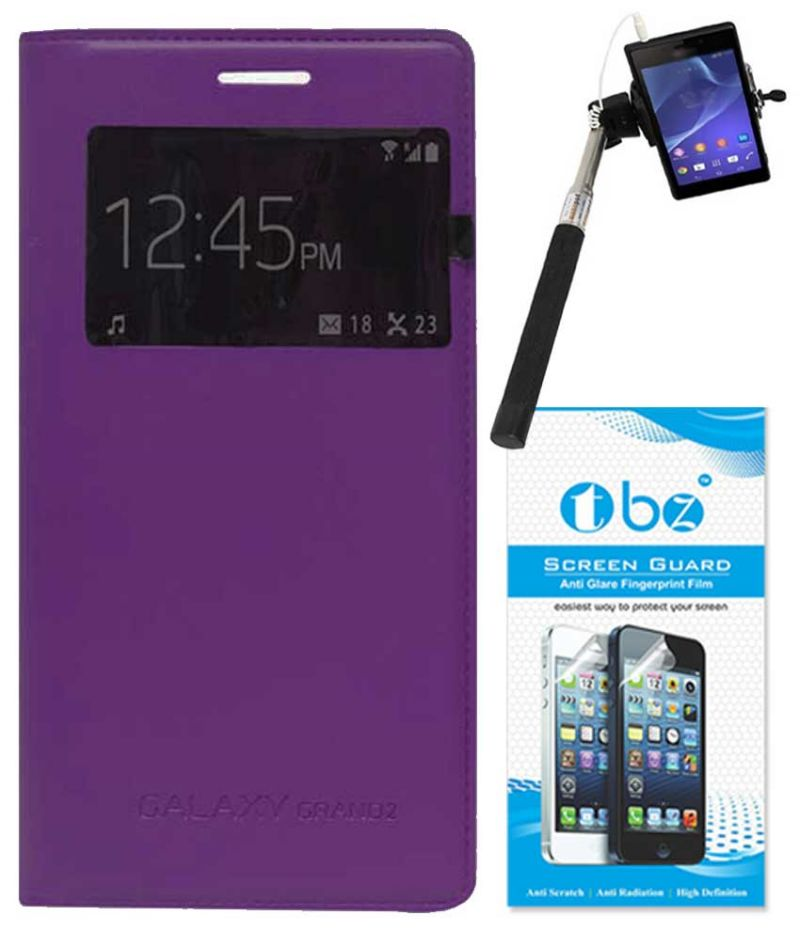 Buy Tbz S-view Flip Cover Case For Samsung Galaxy Grand 2 With Selfie Stick Monopod With Aux And Screen Guard - Purple online