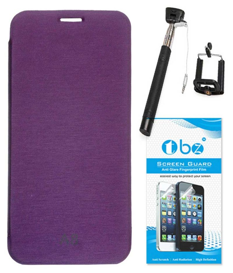 Buy Tbz Flip Cover Case For Samsung Galaxy A8 With Selfie Stick Monopod With Aux And Screen Guard - Purple online