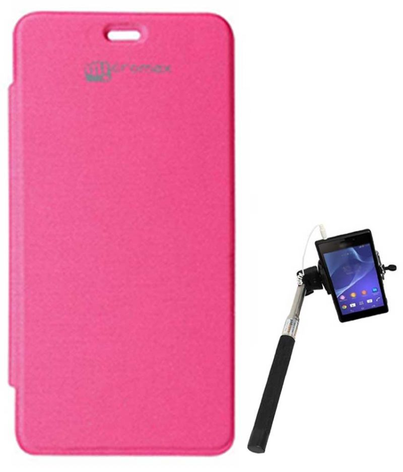 Buy Tbz Flip Cover Case For Micromax Unite 2 A106 With Selfie Stick Monopod With Aux - Magenta online