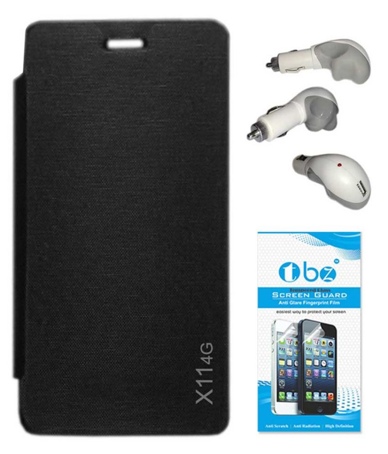 Buy Tbz Flip Cover Case For Lava X11 4G With Car Charger And Tempered Screen Guard - Black online