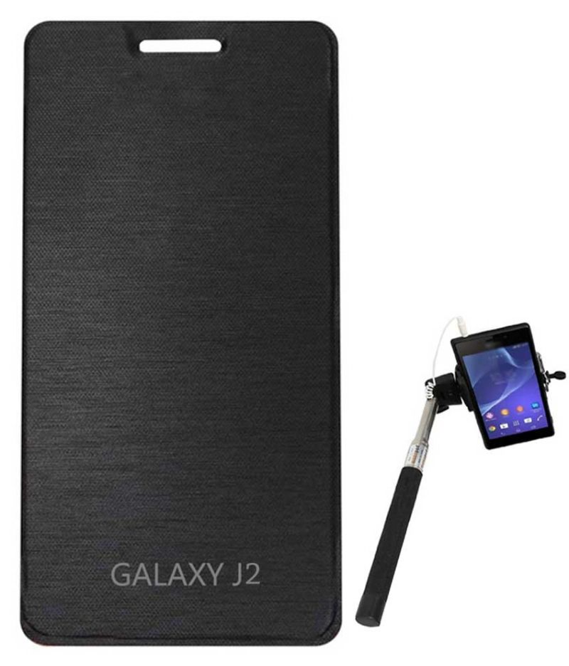 low cost 9a735 dff05 Tbz Flip Cover Case For Samsung Galaxy J2 With Selfie Stick Monopod With  Aux - Black