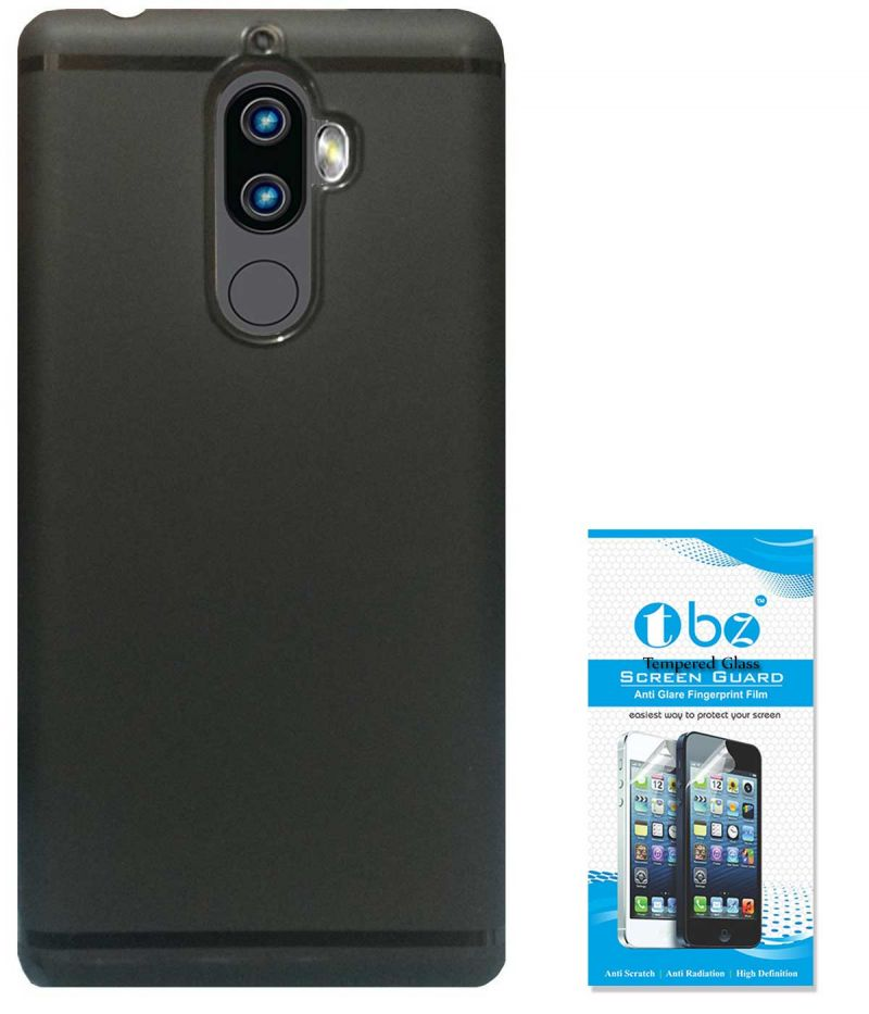 Tbz Soft Tpu Slim Back Case Cover For Lenovo K8 Plus With Tempered Screen  Guard -black